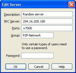 mIRC: Edit Server