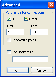 mIRC: Port range for connections: